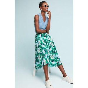 Anthropologie Maeve Claremont Pleated Midi Skirt